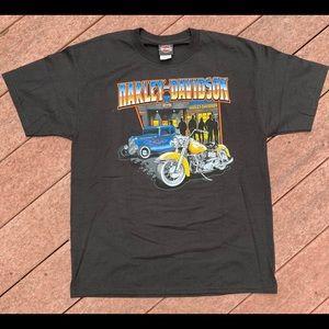 Harley Davidson motorcycle and hot rod tee